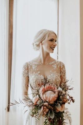 Schlichtes Hochzeitskleid mit Ärmel | Brautkleider  A Linie Spitze_3
