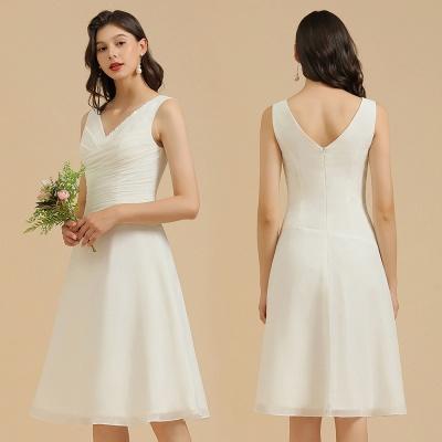 Schlichte Brautjungfernkleider Weiß | Kurze Kleider Für Brautjungfern_10