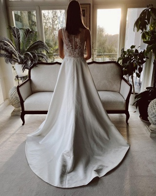 Simple wedding dress satin | Wedding dresses a line lace_2