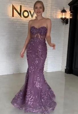 Purpur Lange Abendkleider mit Spitze Herz Meerjungfrau Abendmoden Abiballkleider_1