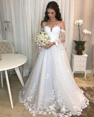 Designer wedding dress A line lace | Wedding dresses with sleeves_2