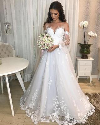 Designer Hochzeitskleid A Linie Spitze | Brautkleider mit Ärmel_2