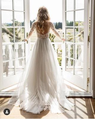 Wundershcöne Hochzeitskleider mit Ärmel | Chiffon Brautkleid A Linie_2