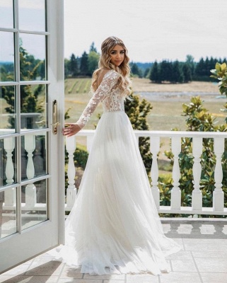 Wundershcöne Hochzeitskleider mit Ärmel | Chiffon Brautkleid A Linie_3