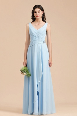 Beautiful bridesmaid dresses long blue | Chiffon dresses for bridesmaids