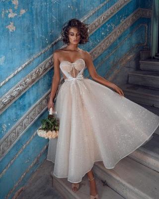 Wunderschöne Brautkleider Kurz | Hochzeitskleider Glitzer Günstig_2