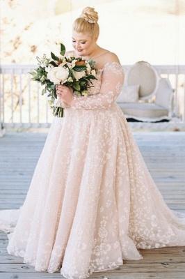 Brautkleider Große Größe | Übergroße Hochzeitskleider mit Ärmel_1