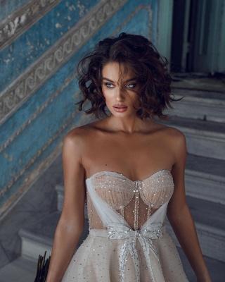 Wunderschöne Brautkleider Kurz | Hochzeitskleider Glitzer Günstig_4
