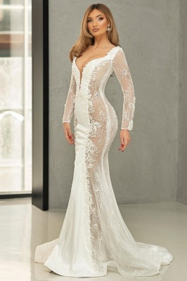 Beautiful wedding dresses mermaid lace | Wedding dresses with sleeves_1