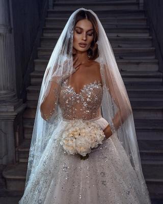 Elegante Brautkleider Glitzer | Hochzeitskleider A Linie Spitze_3