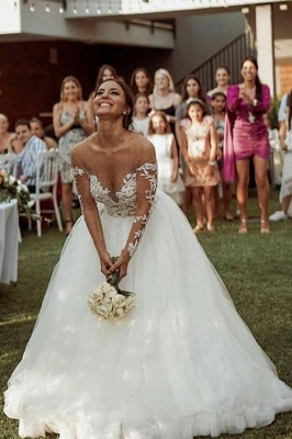Beautiful wedding dresses A line lace | Wedding dress tulle with sleeves_3