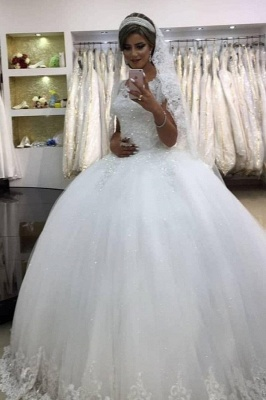 Romantic White Sleeveless Ball Gown Wedding Gowns With Lace_1