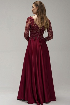Wine red evening dresses long cheap | Prom dresses with sleeves_2