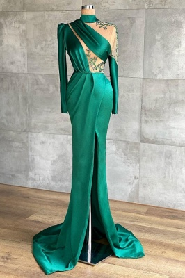 Prom dresses dark green | Evening dresses long with sleeves_1