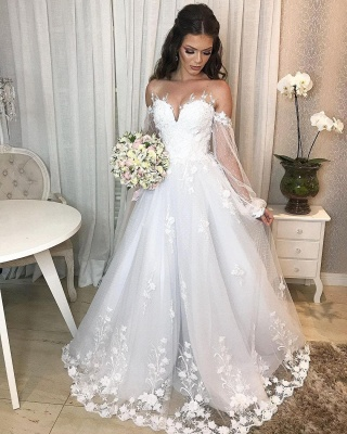 Designer wedding dress A line lace | Wedding dresses with sleeves_6