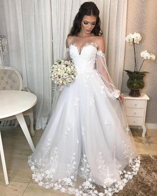 Designer Hochzeitskleid A Linie Spitze | Brautkleider mit Ärmel_6