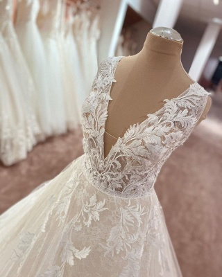 Elegant wedding dresses V neckline | Wedding dresses A line lace_3