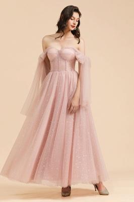 Schöne Brautjungfernkleider Lang Rosa Mit Ärmel_8