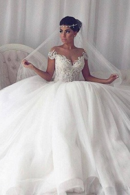 Elegant Weiße Hochzeitskleider Mit Spitze Prinzessin Tüll Brautkleider_1