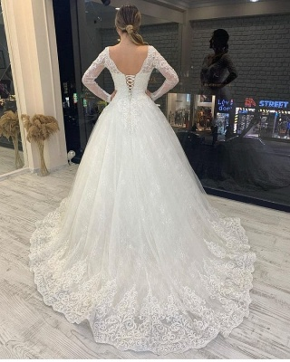 Wedding dresses a line lace | Wedding dresses glitter with sleeves_2