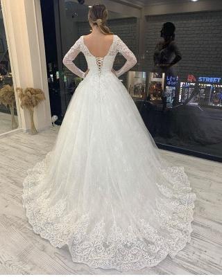 Brautkleider A Linie Spitze | Hochzeitskleider Glitzer Mit Ärmel_2