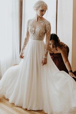 Schlichtes Hochzeitskleid mit Ärmel | Brautkleider  A Linie Spitze_1