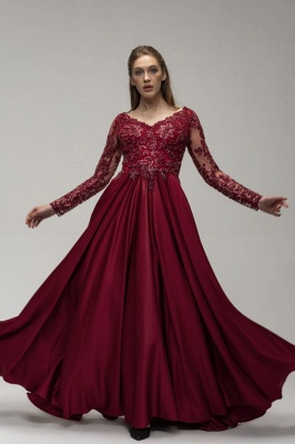 Wine red evening dresses long cheap | Prom dresses with sleeves