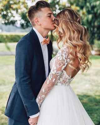 Wundershcöne Hochzeitskleider mit Ärmel | Chiffon Brautkleid A Linie_5
