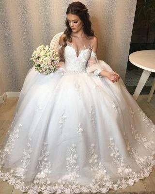 Designer Hochzeitskleid A Linie Spitze | Brautkleider mit Ärmel_8