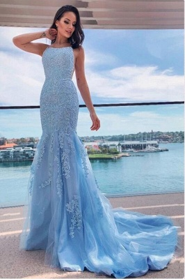 Light Blue Evening Dresses Long Cheap | Prom dresses with lace_1