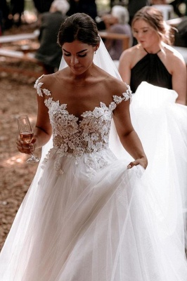 Simple wedding dress A line | Wedding dresses with lace_3