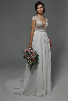 Summer Beach Wedding Dresses Chiffon | Simple wedding dress with lace
