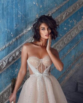 Wunderschöne Brautkleider Kurz | Hochzeitskleider Glitzer Günstig_5