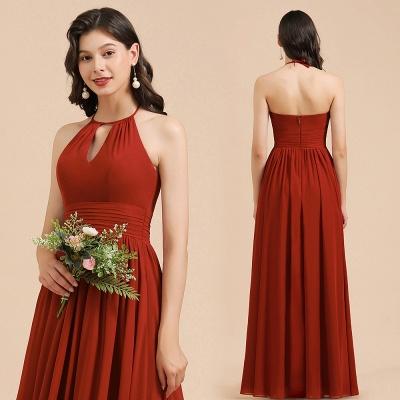 Schöne Brautjungfernkleider Lang Rot | Hochzeitspartykleider Günstig_11
