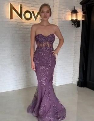 Purpur Lange Abendkleider mit Spitze Herz Meerjungfrau Abendmoden Abiballkleider_2