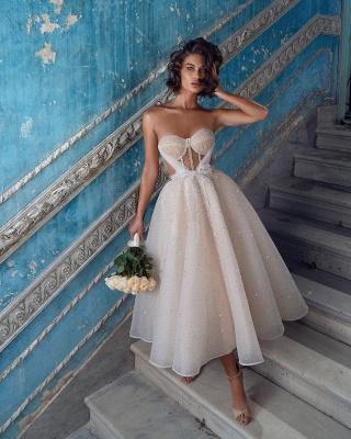 Wunderschöne Brautkleider Kurz | Hochzeitskleider Glitzer Günstig_3