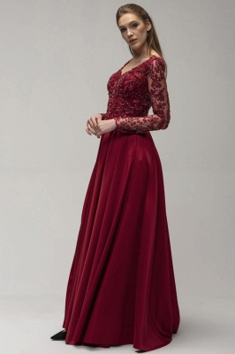 Wine red evening dresses long cheap | Prom dresses with sleeves_3
