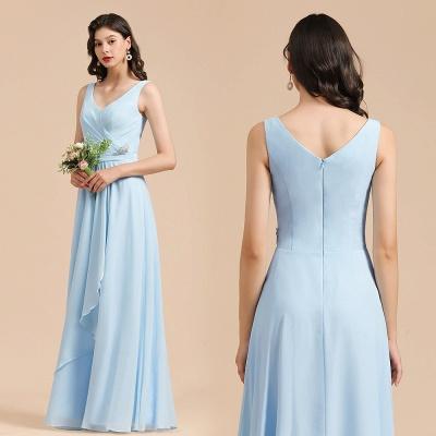 Schöne Brautjungfernkleider Lang Blau | Chiffon Kleider Für Brautjungfern_10