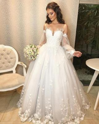 Designer Hochzeitskleid A Linie Spitze | Brautkleider mit Ärmel_3