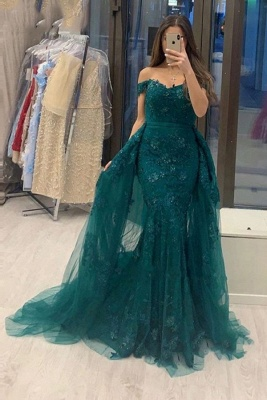 Elegant evening dresses green | Prom dresses with lace
