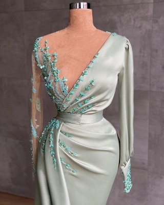 Abiballkleider Lang Mint Grün | Abendkleider mit Ärmel_2