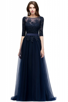 Navy blue evening dresses with sleeves lace sheath dresses evening gowns online cheap_3