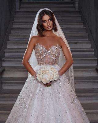 Elegante Brautkleider Glitzer | Hochzeitskleider A Linie Spitze_2