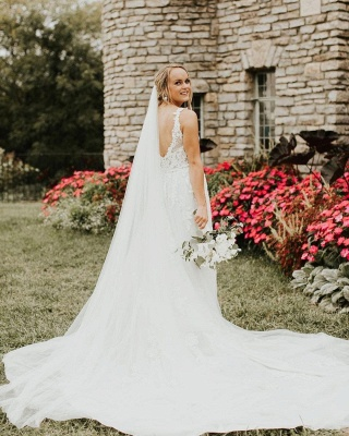 Designer wedding dresses with sleeves | A line lace wedding dress_2
