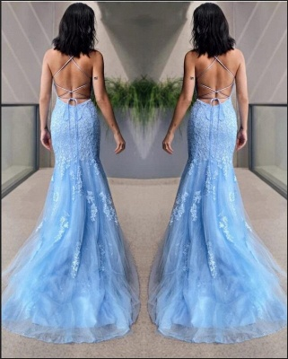 Light Blue Evening Dresses Long Cheap | Prom dresses with lace_3