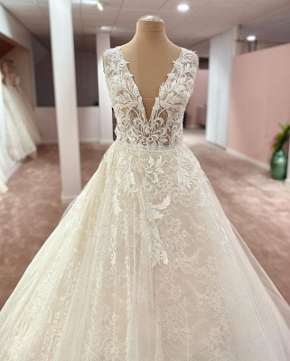 Elegant wedding dresses V neckline | Wedding dresses A line lace_2
