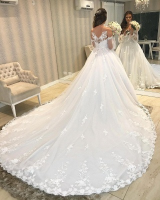 Designer wedding dress A line lace | Wedding dresses with sleeves_5