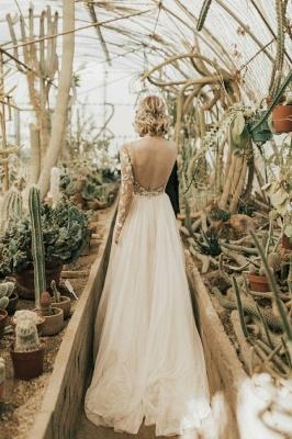 Schlichtes Hochzeitskleid mit Ärmel | Brautkleider  A Linie Spitze_2