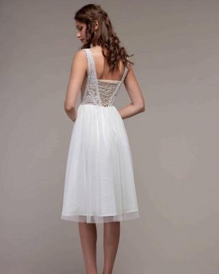Schlichtes Hochzeitskleid Günstig | Strand Brautkleid mit Spitze_2