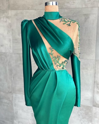 Prom dresses dark green | Evening dresses long with sleeves_2